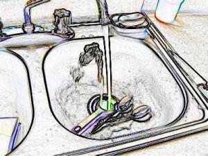 sink disposal sketch illustration